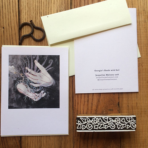Georgia's Hands with Soil /// set of 5 greeting card