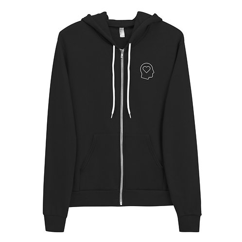 Hoodie Full Zip Up - Heart Head Embroidered