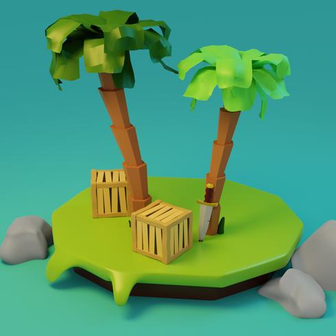 Cartoon themed island