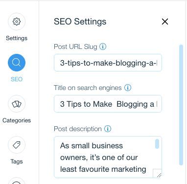 A screen grab of SEO settings from the Wix editor