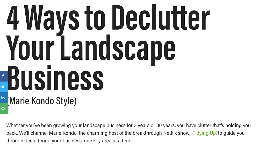 Screen grab of a blog post on decluttering your landscape business