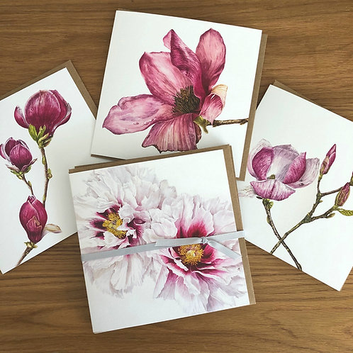 Floral Magnolias and Peonies Card Pack