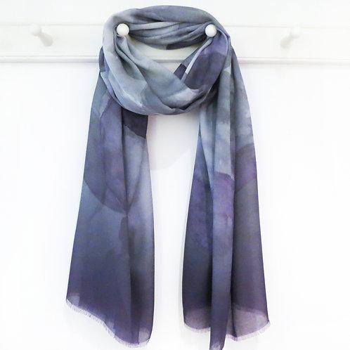 Smokey Grey and Lilac Spot Print Scarf