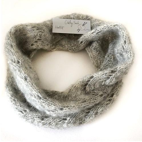 Grey Melange Hand Knitted Lacey Alpaca Cowl Neck Warmer