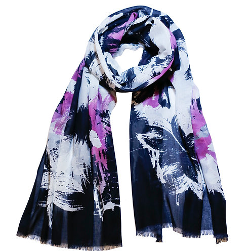 Black, White and Pink Brushstroke Floral Print Scarf