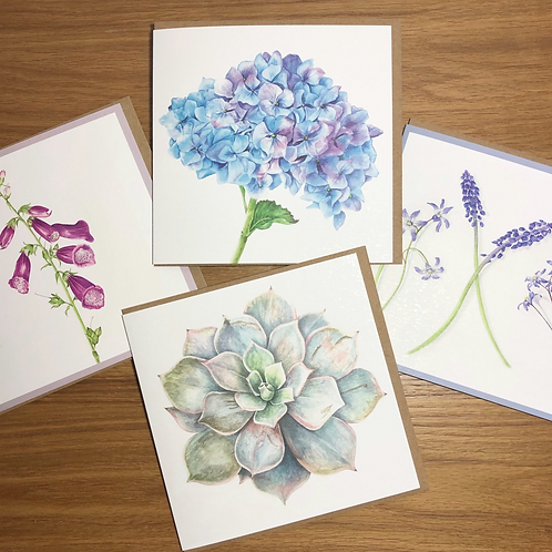 Botanical Florals Four Card Set