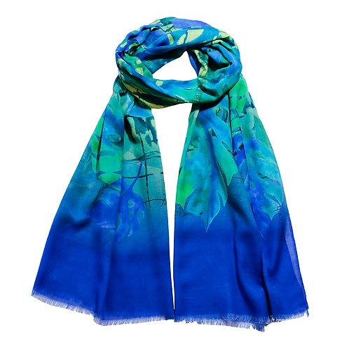 Blue Tropical Floral Leaf Print Scarf