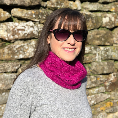 Hot Pink Hand Knitted Lacey Alpaca Cowl Neck Warmer