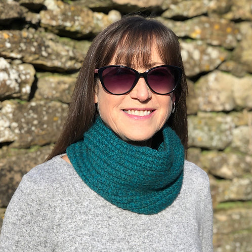 Teal Hand Knitted Twisted Rib Cowl