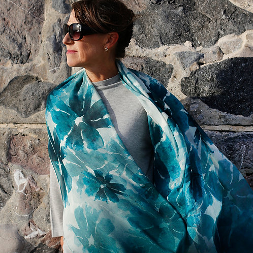 Teal Green Watercolour Floral Print Scarf