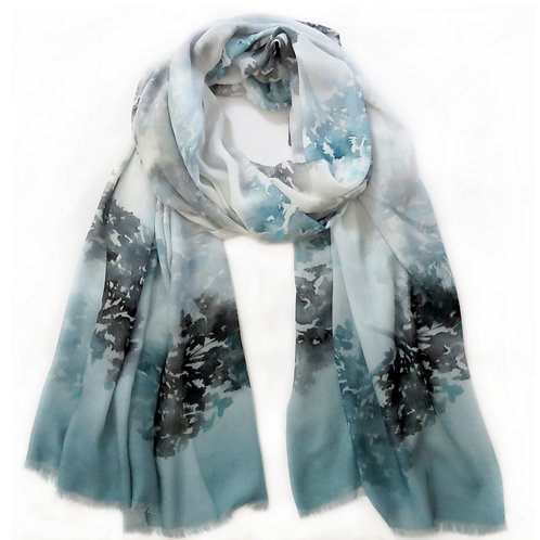 Soft Teal and Grey Print Scarf