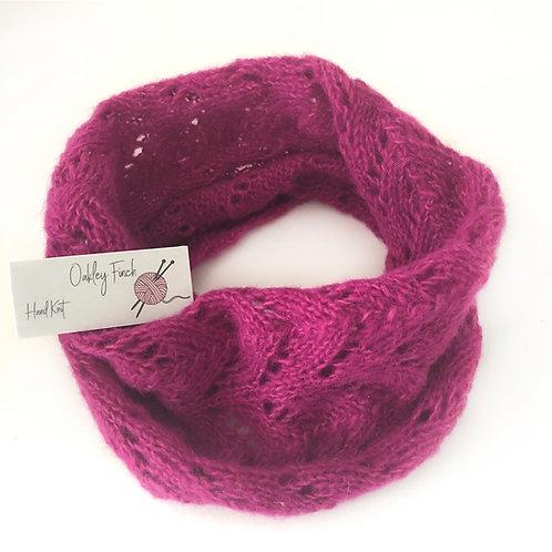 Hot Pink Hand KnittedLacey Alpaca Cowl Neck Warmer