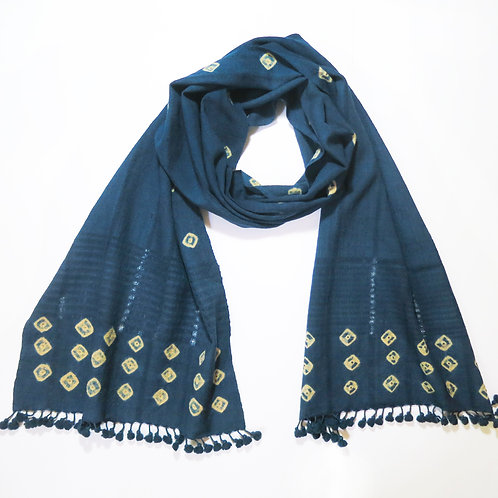 Indigo Dyed Wool Bobble Trim Scarf