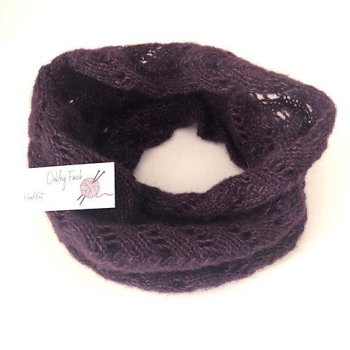 Dark Damson Hand Knitted Lacey Alpaca Cowl Neck Warmer