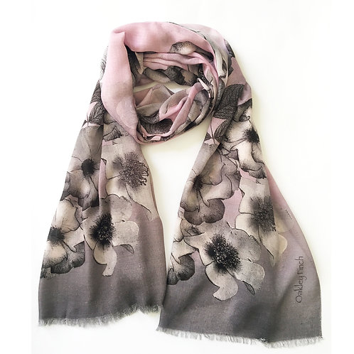 Chalky Pink and Grey Rose Scarf