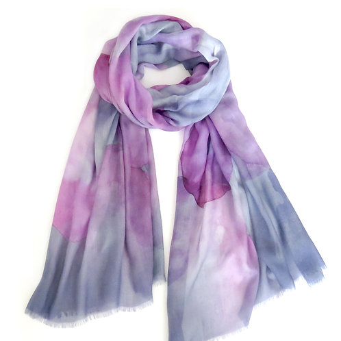 Smokey Grey and Plum Watercolour Spot Scarf