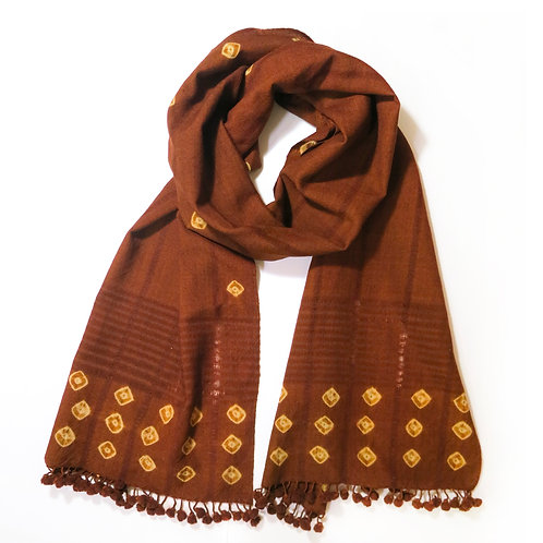 Rust Wool Bobble Trim Scarf