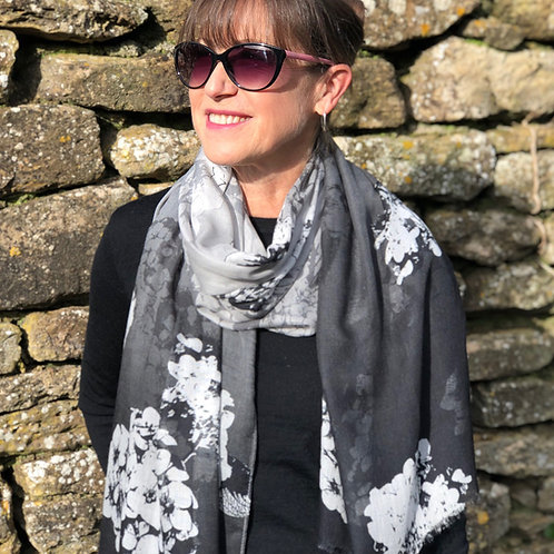 Black and Ivory Floral Print Scarf