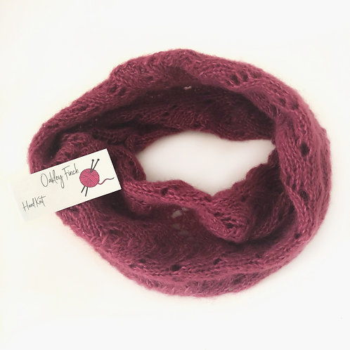 Dusky Pink Hand Knitted Lacey Alpaca Cowl Neck Warmer