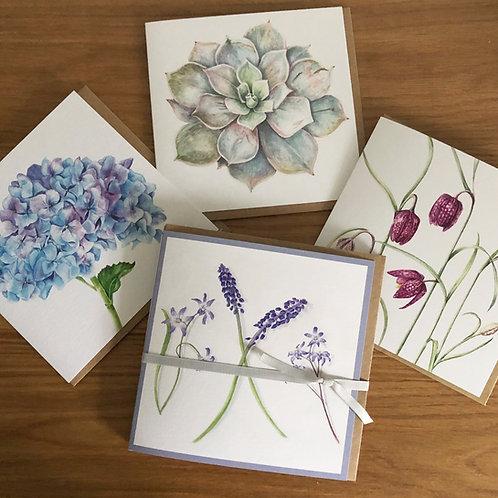 Botanical Florals Four Card Set