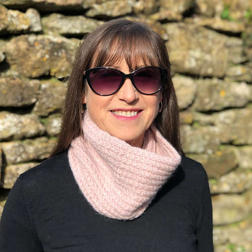 Pink Hand Knitted Twisted Rib Cowl