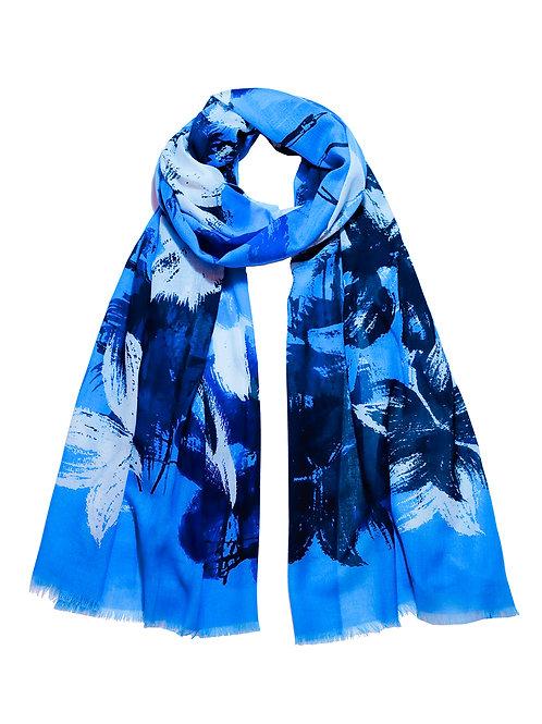 Blue Brushstroke Floral Scarf