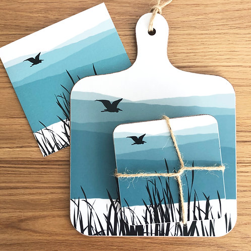 TEAL HERON MINI CHOPPING BOARD AND COASTER SET
