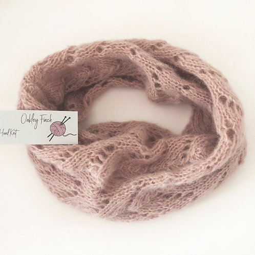 Pale Shell Pink Hand Knitted Lacey Alpaca Cowl Neck Warmer
