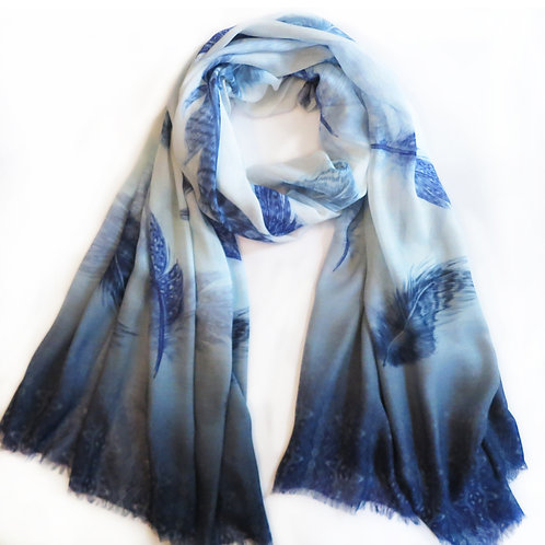 Feather Blues Print Scarf