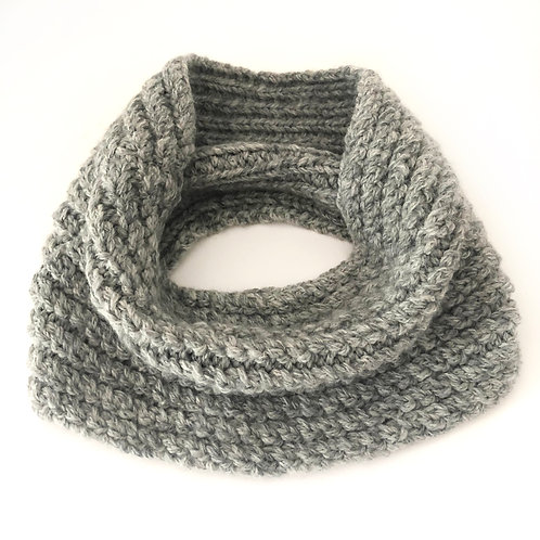 Grey Melange Hand Knitted Twisted Rib Cowl