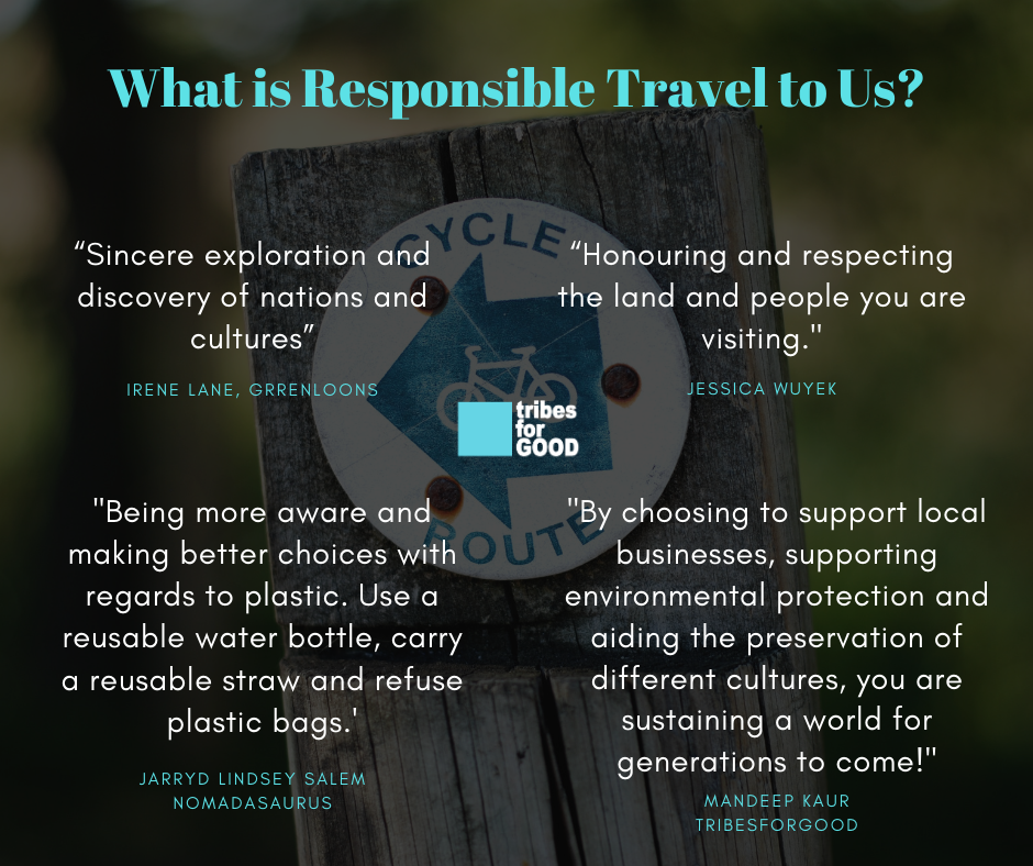 A picture quoting what responsible travel means to different hosts around the world.