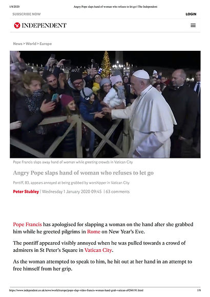 Angry Pope slaps hand of woman who refus