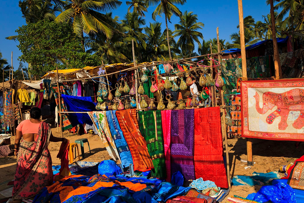 market with local handicrafts and colourful items in Goa, India