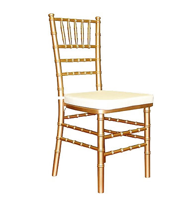 Gold Chiavari Chair | Ivory Cushion or Black Cushion