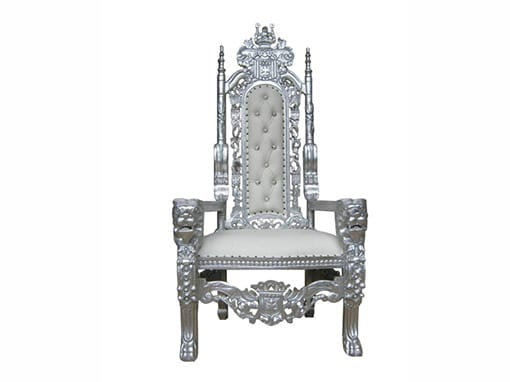 Silver and White Throne Chair