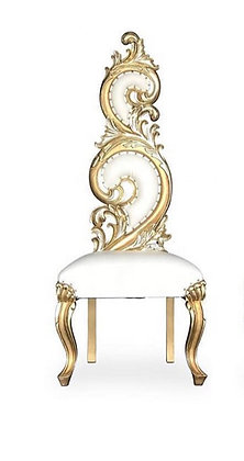 White and Gold Trim Royal Chair