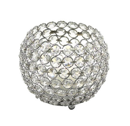 Crystal Ball Candle Holder stand | Silver
