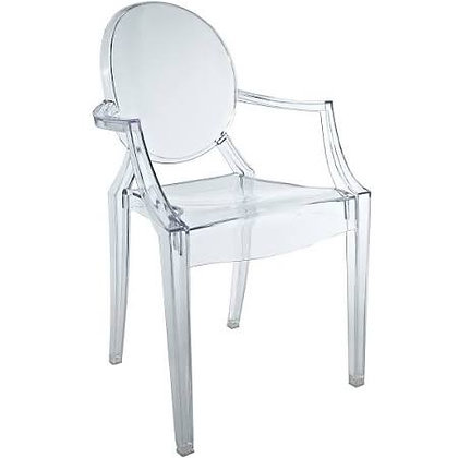 Clear Ghost Style Chair-  With Arm