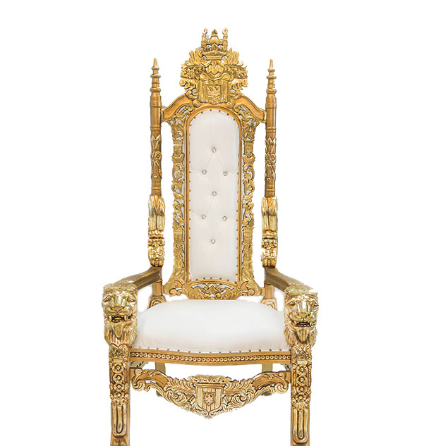 THRONE-007-LION-HEAD-WHITE-WITH-GOLD-TRI