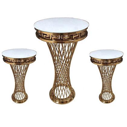 3 Gold and White Pillars