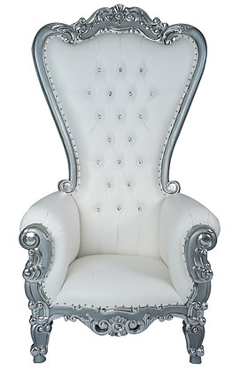 Silver and White Sweetheart Throne Chairs