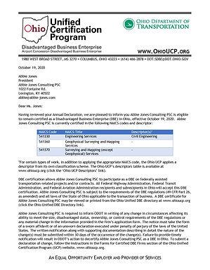 Ohio DOT DBE Certificate