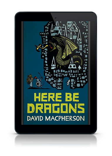 Cover shot of Here Be Dagons - Knight and monk battle dragon