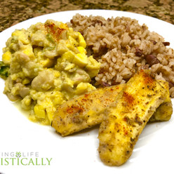 Ackee and butter beans, rice & peas