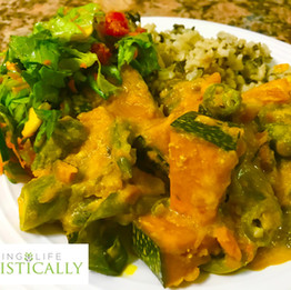 Coconut curry pumpkin, callaloo brown rice