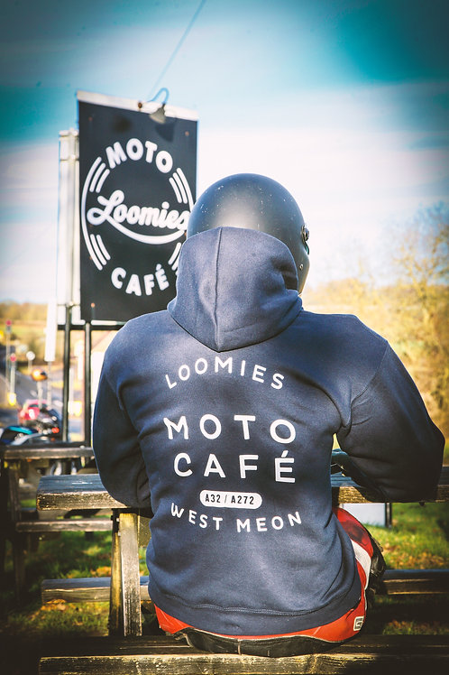 Loomies Moto Cafe Over-Leathers Hoodie with zip-front