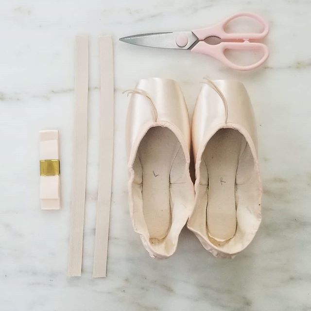 pointe shoes and sewing materials