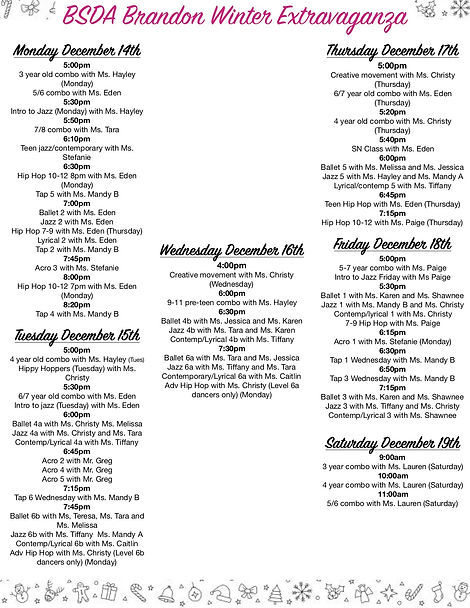 Brandon Winter Extravaganza Schedule 202