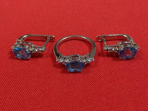 Комплект кольцо + серёжки 925 пробы серебра