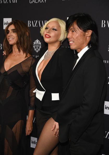 Carine Roitfeld, Lady Gaga and Harper's Bazaar Creative Director Stephen Gan att